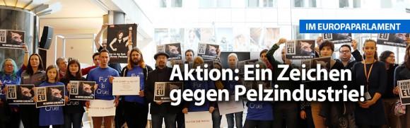 Aktion im Europäischen Parlament: Wir setzen ein Zeichen gegen Pelzindustrie!