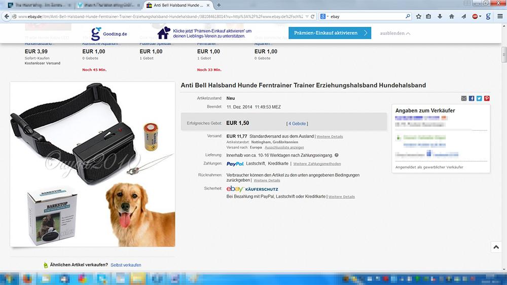 Erfolg Ebay Will Handel Mit Elektroschockern Fur Hunde Verbieten